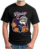OM3® - New England Nikolaus - T-Shirt | Herren | American Football Shirt | XL, Schwarz
