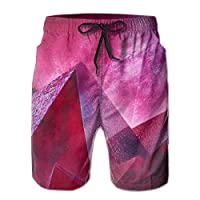 Vikimen Mens Swim Trunks Men Board Shorts Swim Trunks Pink Mountain Quick Dry Athletic Beach Summer Outfit Pants