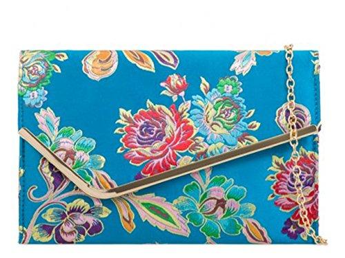 LeahWard Frauen Satin Floral Clutch Taschen Party Hochzeit Abend Handtasche (2148 Blaugrünes Blau) Abschlussbal
