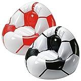Aufblasbarer Fußballsessel 'Coach' mit 2 praktischen Mulden für Getränke (schwarz/weiss)