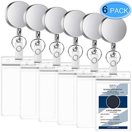 EAONE 6 Stücke Jojo Gürtelclip Schlaufenclip Schlüssel JoJo Versenkbarer Metallkarten Ausweishalter Ziehen Schlüsselanhänger mit 6 Stücke Wasserfester Ausweishalter -