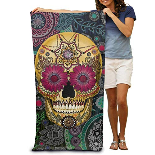 Duyhat Beach Towel Personalized Custom Ultra Soft Super Water Absorbent Multi-Purpose Oversized Dead Sugar Skull Wallpaper Print 31.5
