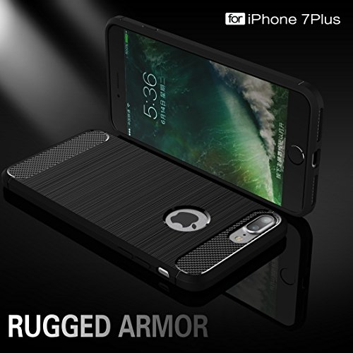 iPhone Case Cover Pour iPhone 7 Plus Fibre de texture brossée TPU Rugged Armor Case de protection ( Color : Black ) Green