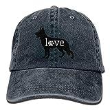 Aoliaoyudonggha German Shepherd Love Dog Paw Pints Adjustable Baseball Caps Denim Hats Cowboy Sport Outdoor