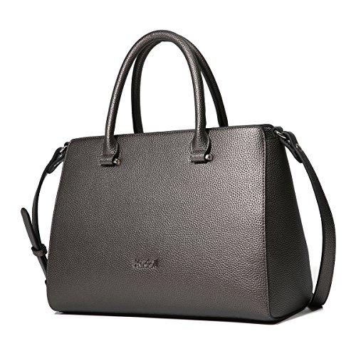 Kadell Vintage morbida pelle borsa del Tote della cartella a tracolla maniglia superiore borsa delle donne Grigio scuro Nichel nero