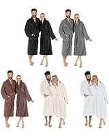 Flauschiger Bademantel für Damen & Herren | Größe S-XXXL in vielen Farben | 100% Baumwolle Uniwalk-Frottee Morgenmantel mit Schalkragen | CelinaTex Serie Oregon