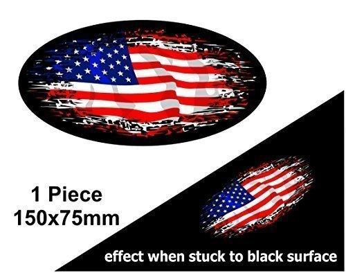 Verblasst zu schwarz getragen Grunge Oval Design mit American Stars & Stripes US Flagge für Motorrad Helm Auto Aufkleber 150x 75mm -