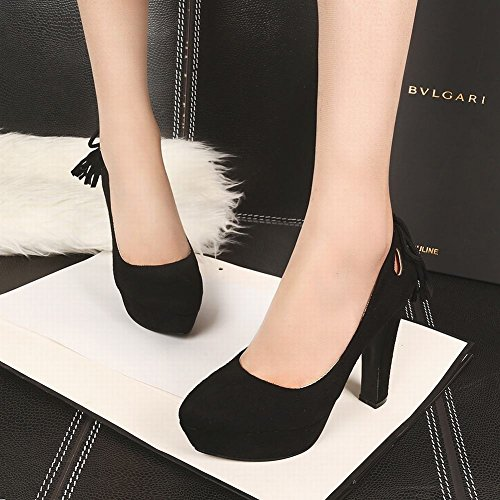Mee Shoes Damen Nubukleder Plateau high heels Pumps Schwarz