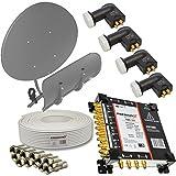 PremiumX SAT Anlage MAXIMUM Antenne T90 Multifocus + 4x Quattro LNB 0,1db 17/8 Multischalter + 100m 130db 4-Fach geschirmt Kabel + 48 F-Stecker 7,5mm mit Dichtring