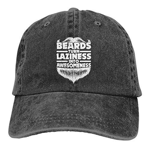 Rundafuwu Gorras de béisbol/Gorra Camionero Beards Turn Laziness Into Awesomeness Washed Denim Hat Unisex Dad Baseball Cap