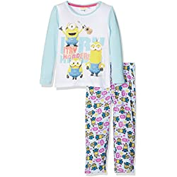 Universal Girl's Minion I Try Harder Pyjama Set,Blue,6 Years (Manufacturer size: 6Y)