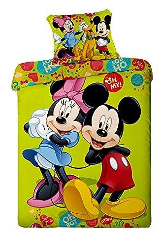 Parure de lit Mickey Minnie Pluto Green Disney - Housse de couette réversible lit 1 personne coton