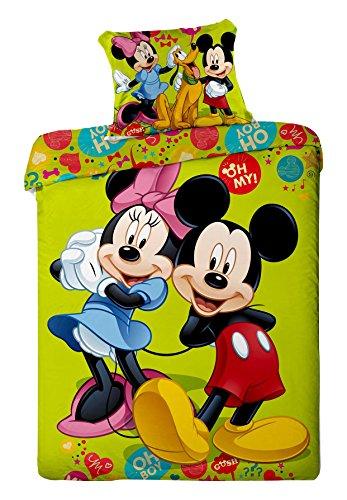 Copripiumino Cotone Singolo 140x200 Cm Federa 70x90 Cm Disney Mickey Minnie OH BOY OH MY!