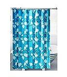 Knbob Duschvorhang Hipster Blume Blau Shower Curtain 150X180CM mit Haken Badezimmer Vorhänge