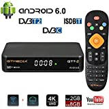 GT MEDIA GTT-2 Decodificador TDT Android 6.0 TV Box DVB-T2/C Digital Amlogic Quad Core S905D 2GB+8GB Media Player, 4K 3D HD/H.265/MPEG-4 Incorporado 2.4G WIFI, Soporte DLNA CCcam