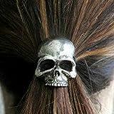 gperw Pop Mode PUNK en forme de tête de mort Filles Cheveux Corde Bandes guides de queue de cheval–Argent
