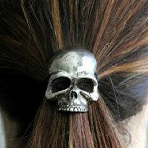 duojincai portátil Punk estilo calavera con forma de cuerda de pelo bandas para niñas cabello titulares–de color plateado