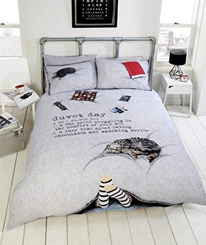 Katze Schokolade Fuß Lazy Day Grau Schwarz Rot Einzeln (Einfache Creme Passendes Leintuch - 91 X 191cm + 25) 3 Stück Bettwäsche Set (Schokolade Tröster)