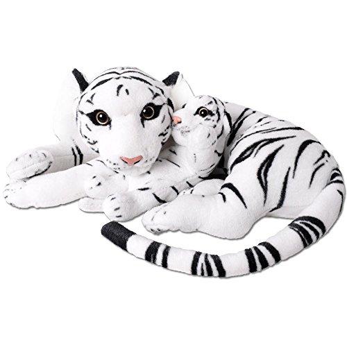 TE-Trend XL Tiger mit Tigerbaby Großkatze Kuscheltier Plüsch 60cm Stofftier weiß