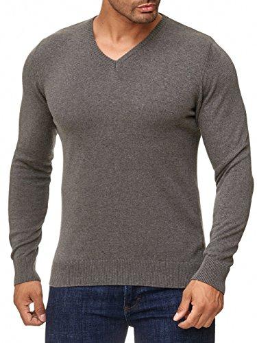 MOKIES Herren Pullover mit V-Ausschnitt - Slim-Fit - Hochwertige Baumwollmischung - Feinstrick-Pullover - Anthrazit XL