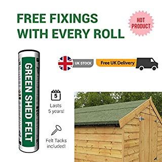 BillyOh Green Mineral Shed Roofing Felt 11m x 1m roll with Fixings