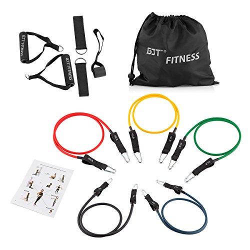 GJT® Fitness Widerstand Band Set für Stärke & Fitness Workout–5x schwere Pflicht Band Set mit Tür Anker Befestigung, Beine Ankle Straps, - Tür-workout-system