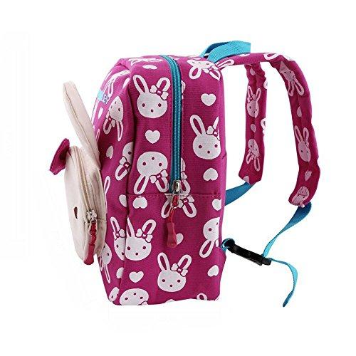 *FRISTONE 3D Lapin Sac à Dos école Maternelle Enfant Bébé Filles Sac Scolaire Kindergarten Backpack,Rose Rouge prêt à acheter