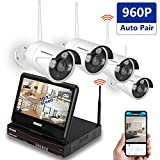 Wireless Security Camera System,Smonet 8CH HD Wireless CCTV Camera System with Monitor (CCTV Kits), 4pcs 960P Wireless Weatherproof Bullet CCTV Cameras,Plug&Play,65ft Night Vision,NO HDD