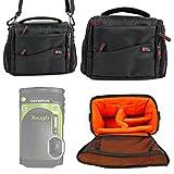 Sacoche DURAGADGET (noir/orange) pour appareil photo Olympus Stylus TG-870, Panasonic Lumix DMC-ZS60/TZ60 et TZ80 compact numérique - Garantie 2 ans