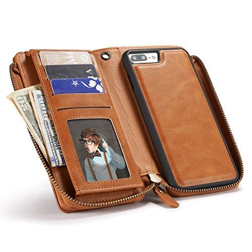 iPhone 7 Plus Hülle, iPhone 7 Plus Leather Hülle, Gift_Source [ Braun ] Leder Phone Case Hülle Brieftasche mit Kartenfächer [Geldscheinfach mit Reißverschluss] Premium Börse Tasche mit abnehmbaren Mag E1-Braun