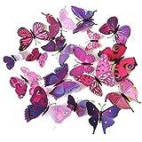 Cestlafit 3D Art- und Weiseschmetterlings-Wand-Aufkleber, PVC-Simulations-Schmetterling für Hauptdekor, Wand-Dekoration, 24 Satz, purpurrot