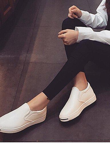 ShangYi gyht Scarpe Donna-Mocassini-Tempo libero / Sportivo-Comoda / Chiusa-Piatto-Finta pelle-Nero / Bianco White