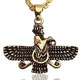 Klein doppelseitig Gold PT fatvahar faravahar Halskette Kette iranischen Persischen Geschenk, gold, S