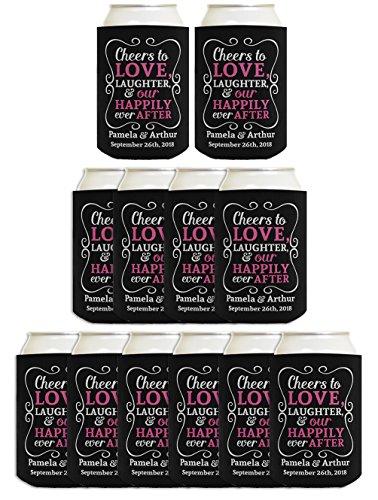 (personalisiert Name & Datum Coolie Cheers To Love können Coolie Drink Coolers Coolies schwarz)