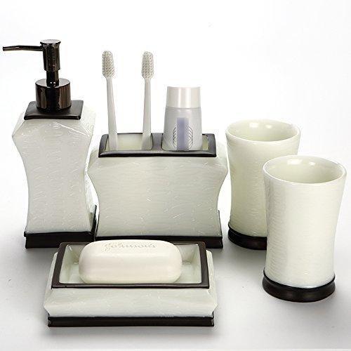 SASA Kreative gebürstetem Nickel Bad-Accessoires-Set, 4 Stück Bad Ensemble, Bad Set Collection Features Seifenspender Pumpe, Zahnbürstenhalter, Tumbler, Seifenschale (weiß) (Aus Gebürstetem Zahnbürstenhalter Nickel)