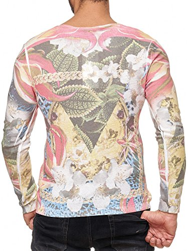 Red Bridge Herren Feinstrick Pullover Slim-Fit Sweatshirt Chain 98 Flower V-Ausschnitt Redbridge RBC By Cipo & Baxx Mehrfarbig