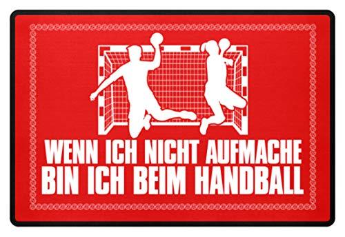 Shirtee Wenn ich nicht aufmache bin ich beim Handball Handballschuhe Trikot Mann Frau Geschenk - Fußmatte -60x40cm-Rubinrot