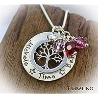 Kette Lebensbaum, Monatssteinkette, Geburtsstein, mit Gravur, Lifetree, mit Name