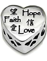Glaube Liebe Hoffnung, Wendbar, Mit Swarovski-Kristall Herz Kissen Herz Sterling Silber Bead Charm Pandora Style