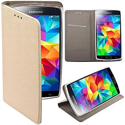 Moozy® Flip cover Funda tipo libro Smart magnética con Stand plegable para Samsung Galaxy S5 G900 / S5 Neo G903 en el soporte de silicona, Dorado Frc