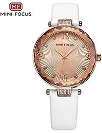 HWCOO Relojes de pulsera MINI FOCUS/reloj de señora/diamante/movimiento japonés/impermeable/correa de cuero/Europa y la venta…