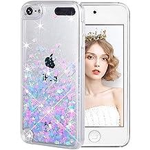 Funda iPod Touch 5/6th, Wuloo Liquid Glitter Funda Bling Lindo de la Chispa Flotante Caso Transparente Líquido Protector Bumper Brillante Cover para iPod Touch 5 Touch 6 regalo de niños niñas