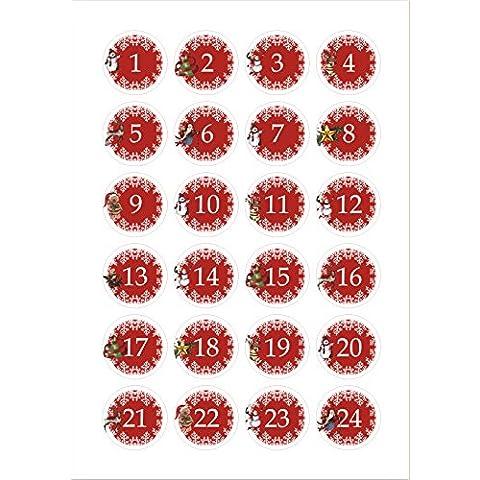 Il-label | 24 avvento calendario numeri rosso |  Autoadesivo adesivo | Circa 40 mm | Calendario per il fai da te e riempire | DIY |