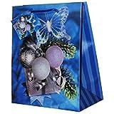 Weihnachtstasche Geschenkebeutel blau mit Geschenk und Kugeln 22,5 cm