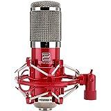Pronomic CM-100R - Micrófono de estudio (membrana grande, condensador XLR, cápsula de 32 mm, tipo cardioide, incluye soporte, estuche, adaptador para trípode y cortavientos), color rojo