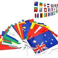 32 Banderas de Cuerda Nations Banderas pequeñas Tela Bunting para Football Night Banners colgar de jardín