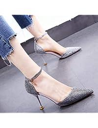 89fa56d3747 HOESCZS Zapatos de Boda con Vestido Dorado 19 Primavera y Verano Nuevo Punta  Puntiaguda Rhinestone Stiletto
