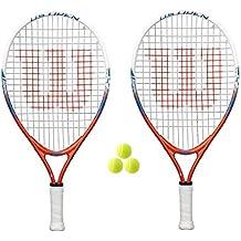 2 x WILSON US Open 19 Junior Raquetas De Tenis + 3 Pelotas PVP 90 Libras