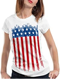 style3 USA Drapeau National T-Shirt Femme états-Unis d amérique us stars stripes