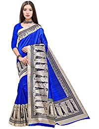 Mrinalika Fashion Art SIlk Saree With Blouse Piece (Blue_sarees For Women Latest Design APHA1074_Free Size)